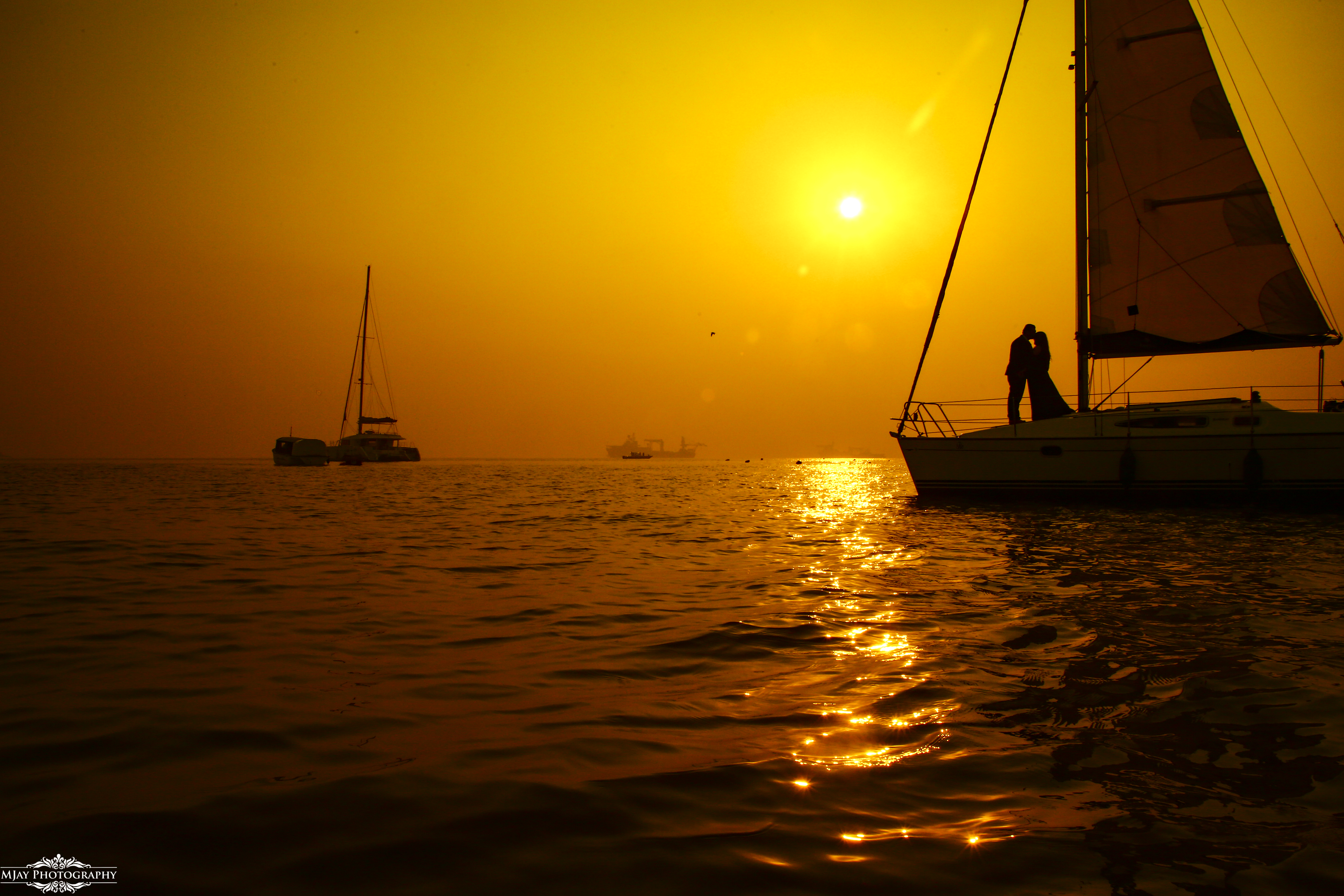 Couple Pre Wedding Photography in a Boat in Evening