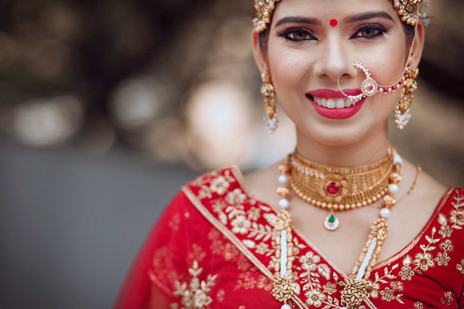 Red Bridal Portrait Picture in Red Lehenga