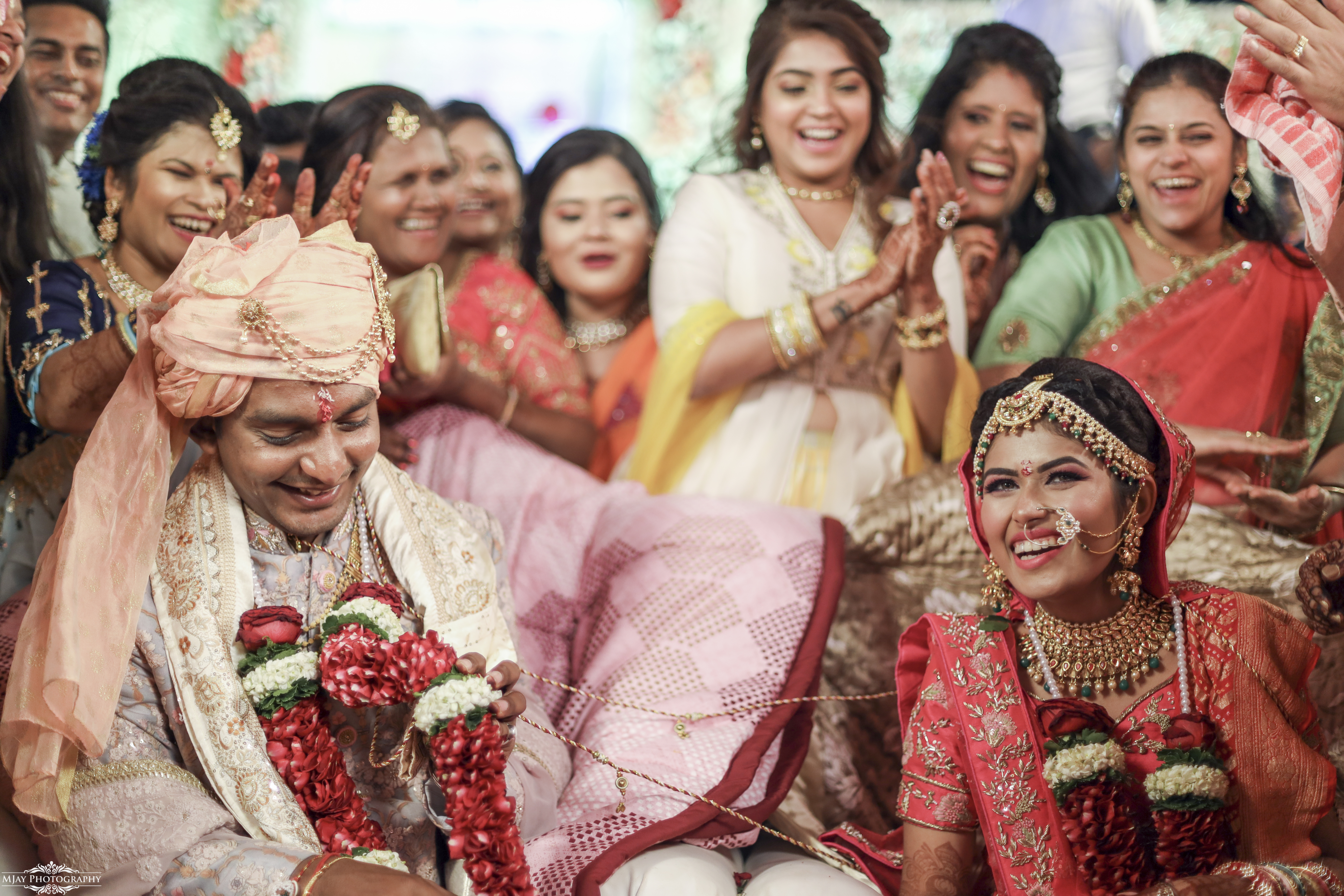 Smiling Bride & Groom During Indian Wedding Rituals