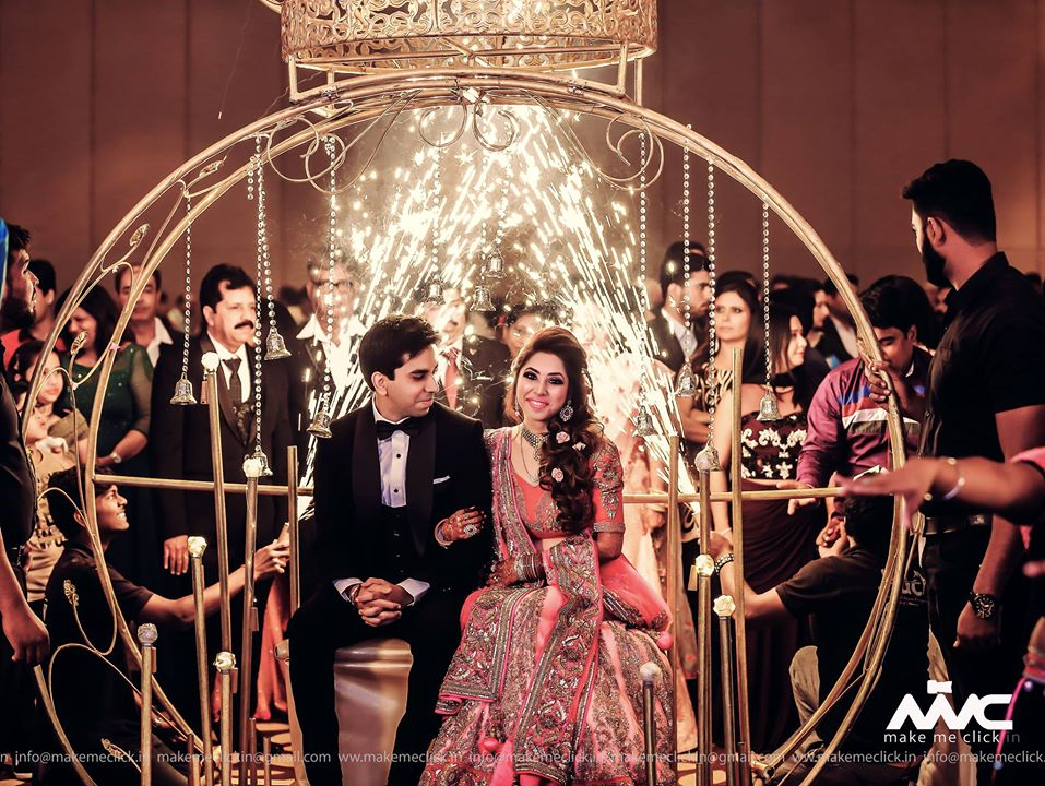 Grand Couple Reception Entry with Fireworks