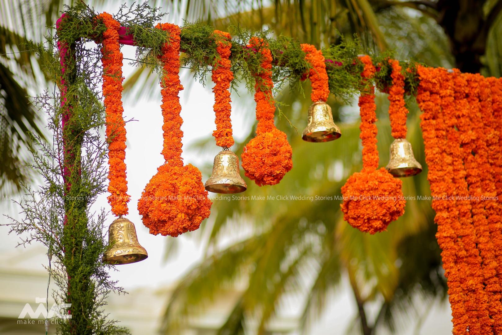 Marigold and Bells Entrance Theme Decor