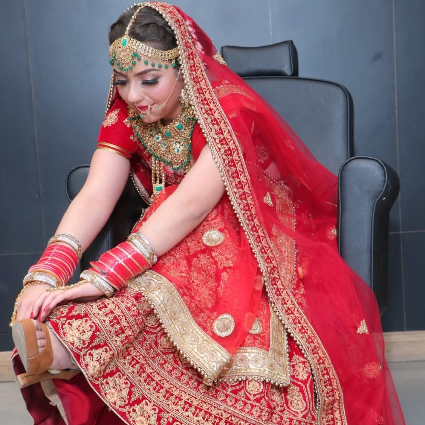 bride in traditional red outfit