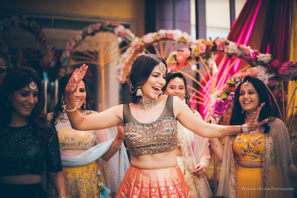 Beautiful Dancing Bride Picture with Bridesmaids