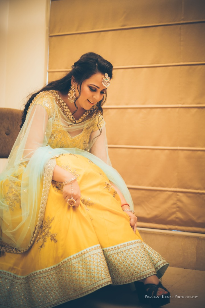Bride in Yellow Outfit For Haldi Ceremony