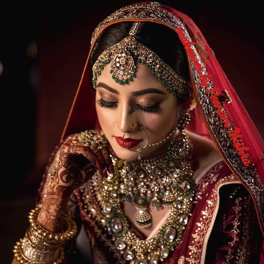 Glitter Eyes and Red Lips Bridal Makeup
