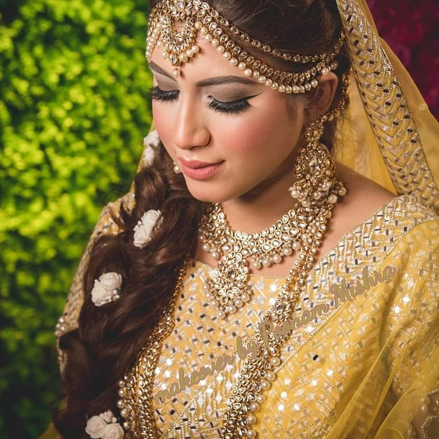 Nude Makeup for Haldi Ceremony for the Bride to Be in Yellow Outfit