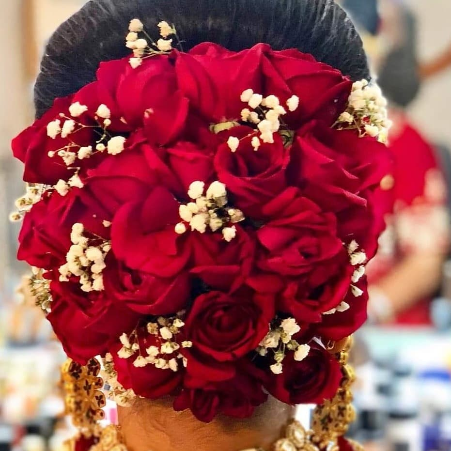 Red Roses and Baby Breath Wedding Hair Bun