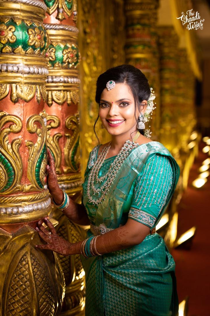 bride in blue silk saree