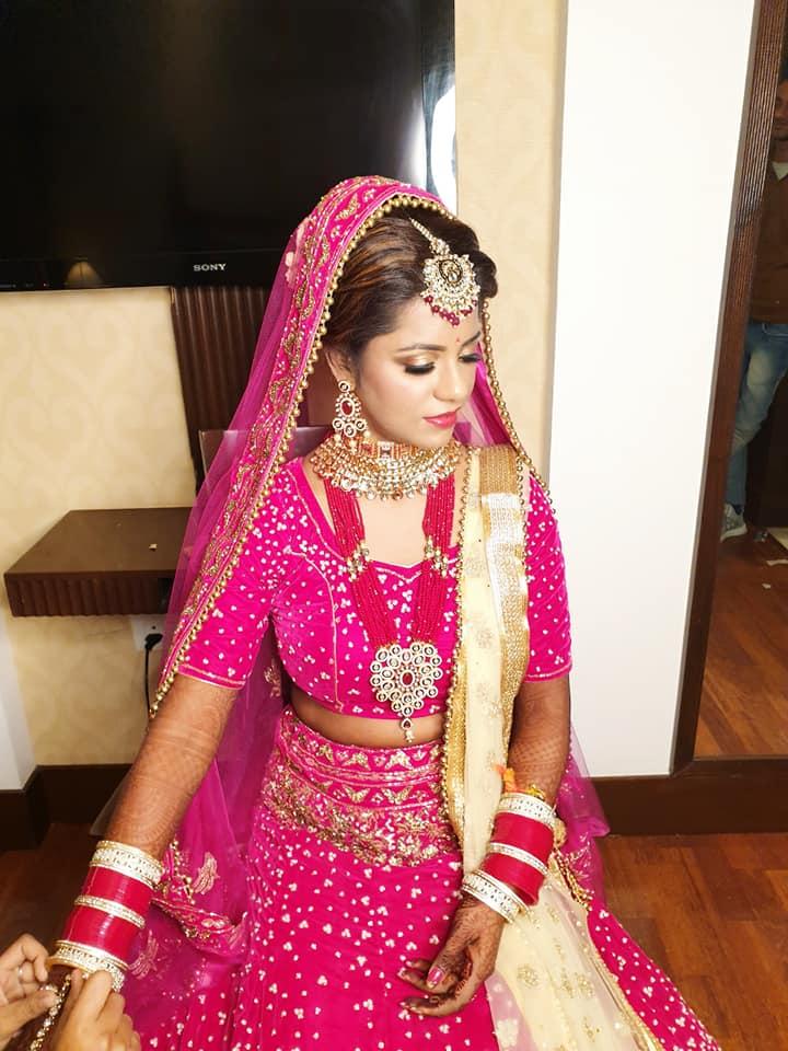 Pink and Golden Bridal Dress Ideas