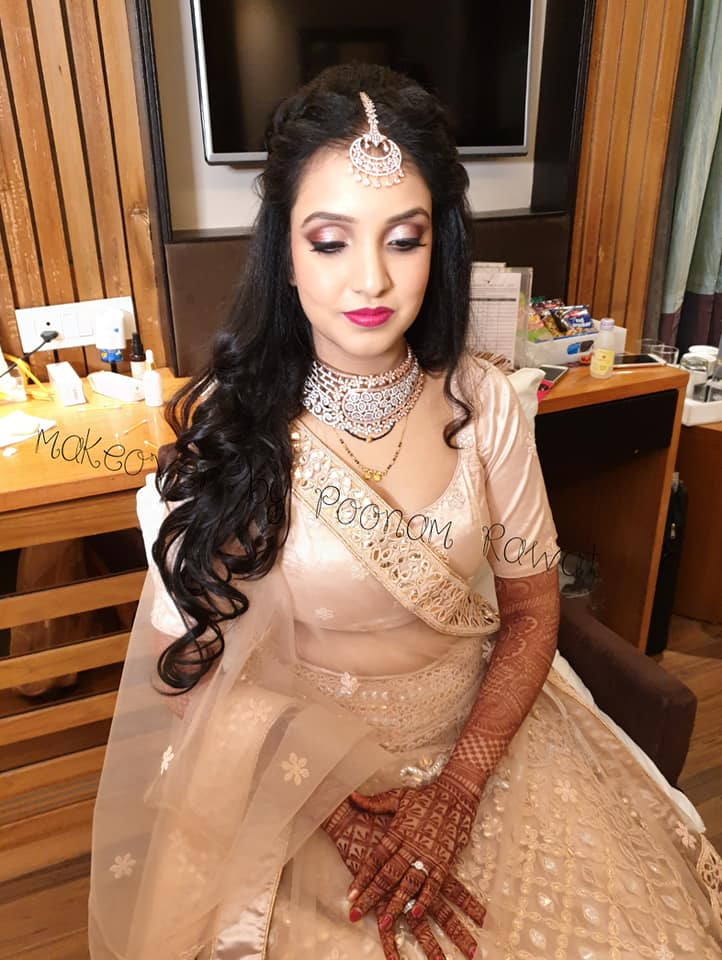 Simple Golden Lehenga for Engagement