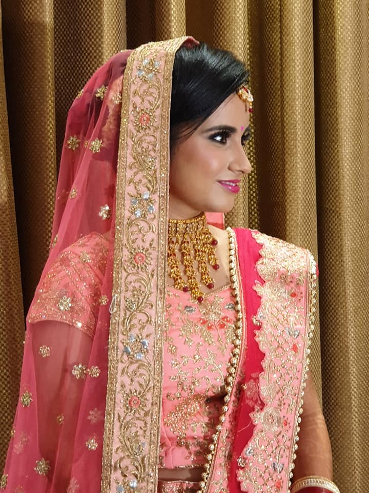 Peach and Golden Bridal Lehenga