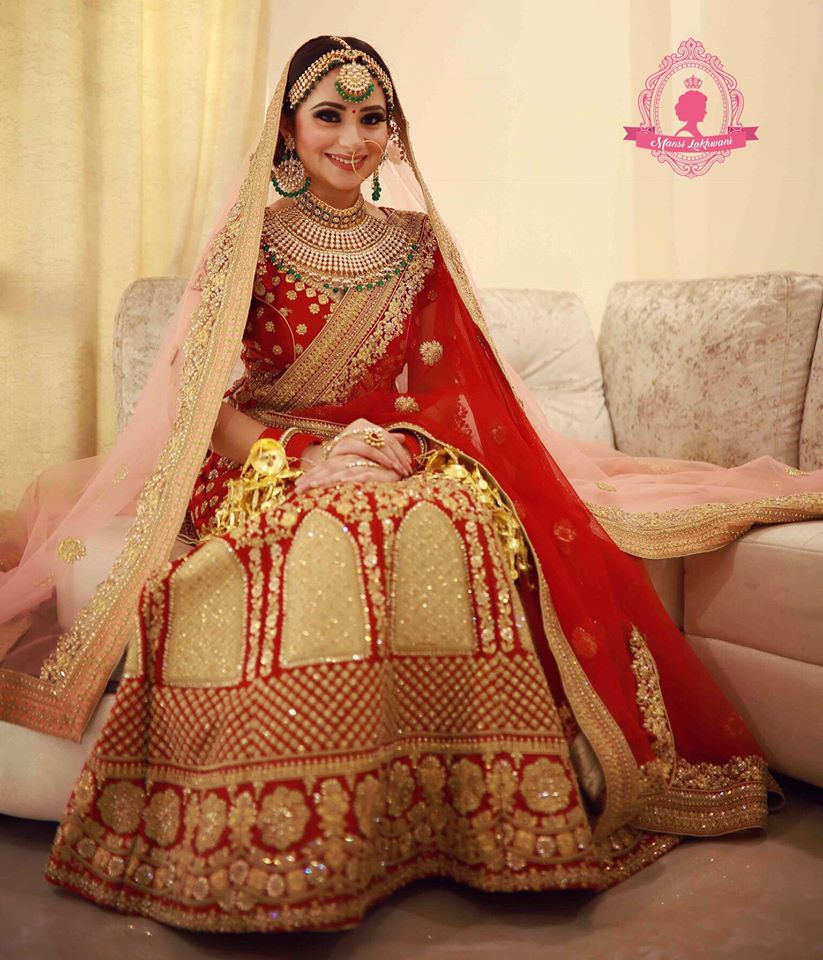 Glowing Bride in Red Lehenga
