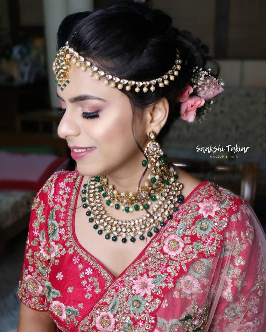 Beautiful Natural Classy Bridal Makeup with Floral Low Bun