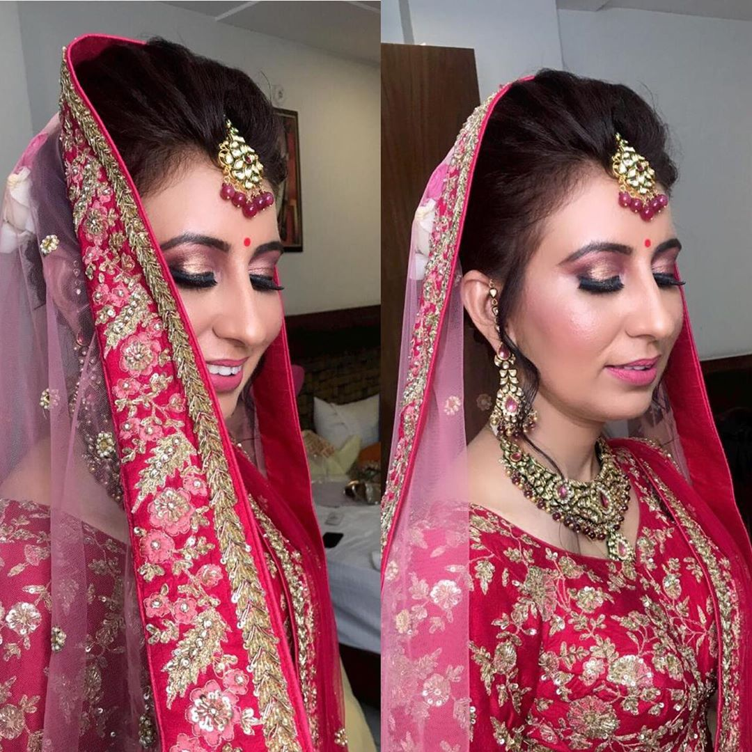 Pink lehenga bridal makeup and hair