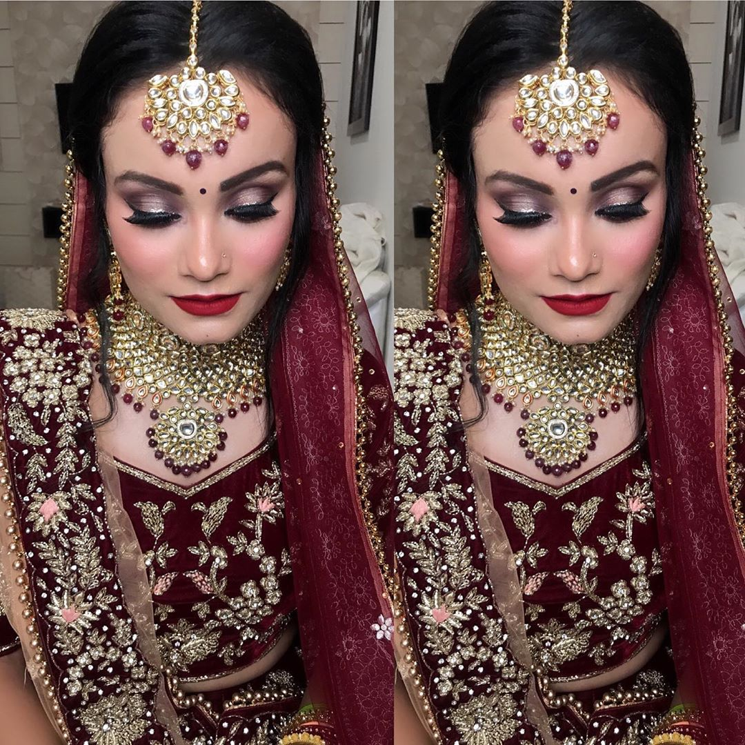 Beautiful bridal makeup in red