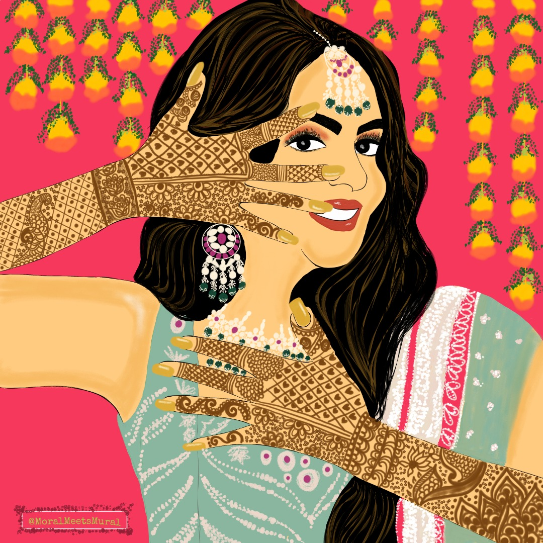 illustration of the bride at her mehendi