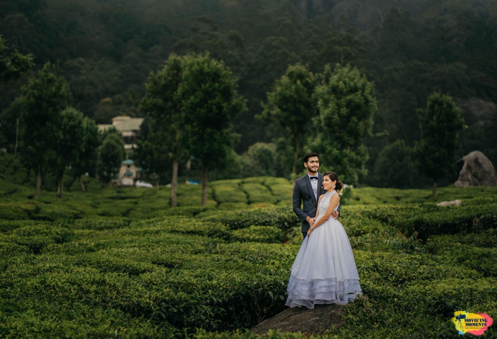 aesthetic pre wedding shoot in a lush garden