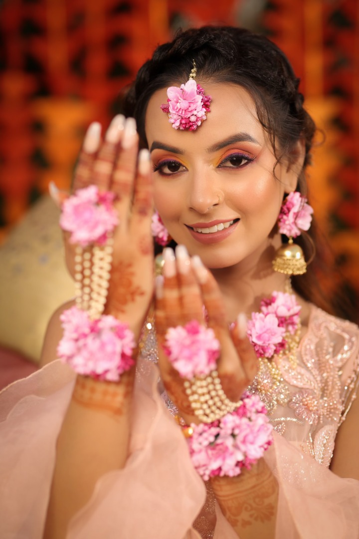 bride in floral jewelry