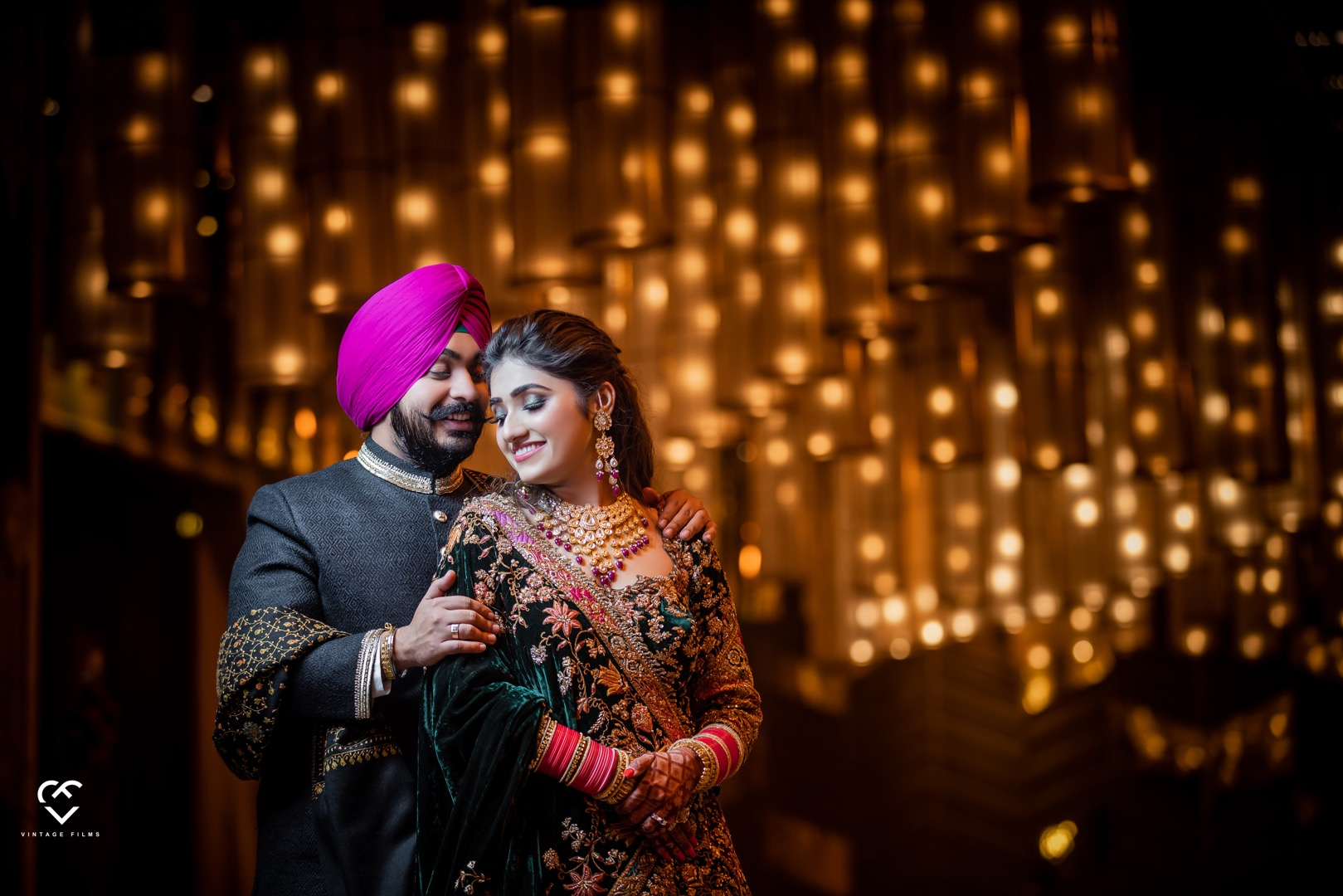 romantic shot of the happy punjabi couple
