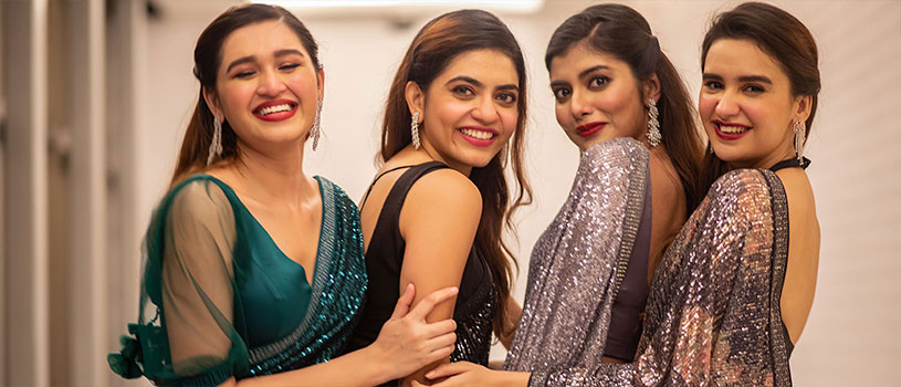 bride poses with her girl gang