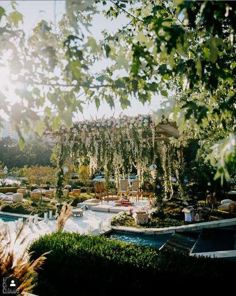 Bohemian Green & White Tropical Theme Wedding Mandap Decor