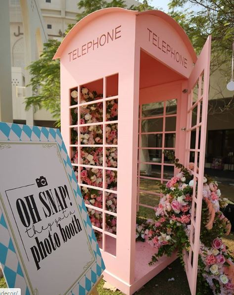 Pink Floral Telephone Booth Style Photo Booth Decor Idea