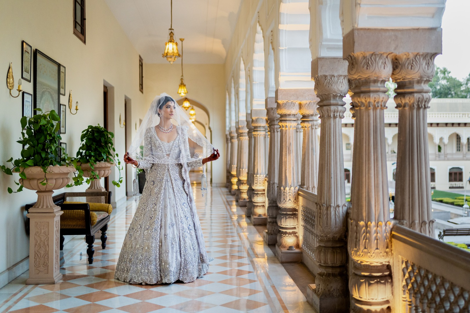 bride in a stunning contemporary lehenga