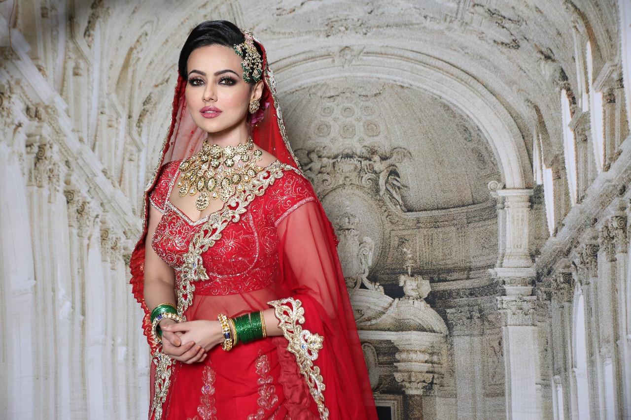 sana khan in bridal makeup