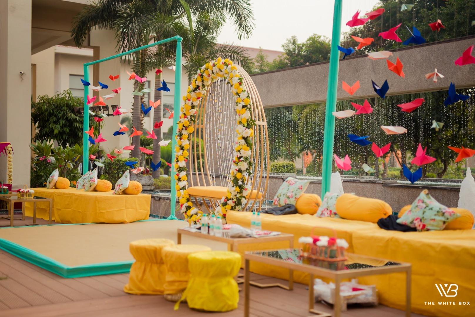 yellow pastel wedding decor