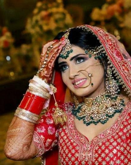 Beautiful bridal makeup in red