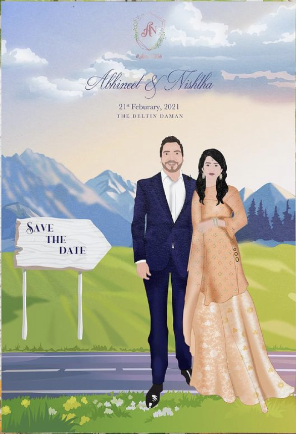 save the date and wedding card