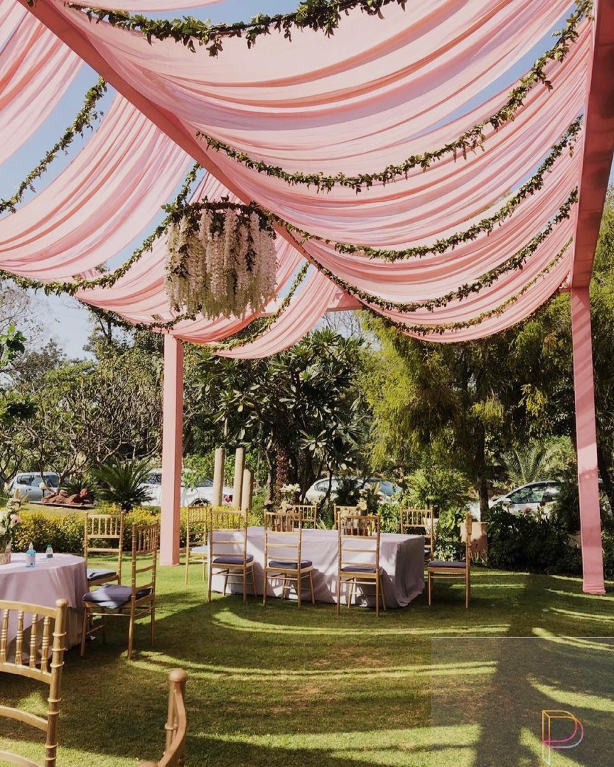 pastel pink tent decor