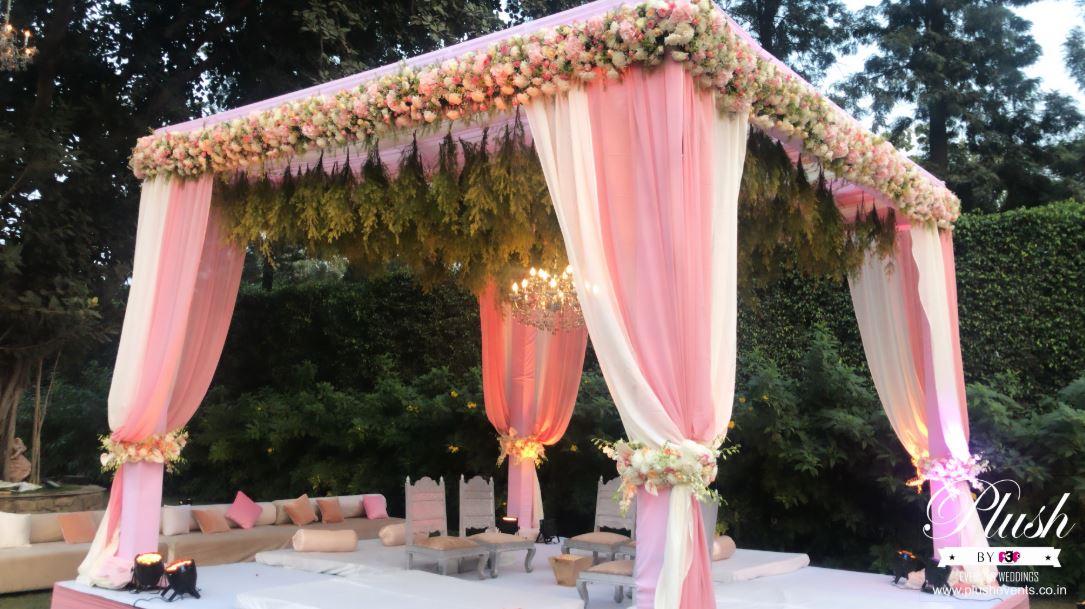 Pink & White Floral Mandap Decor