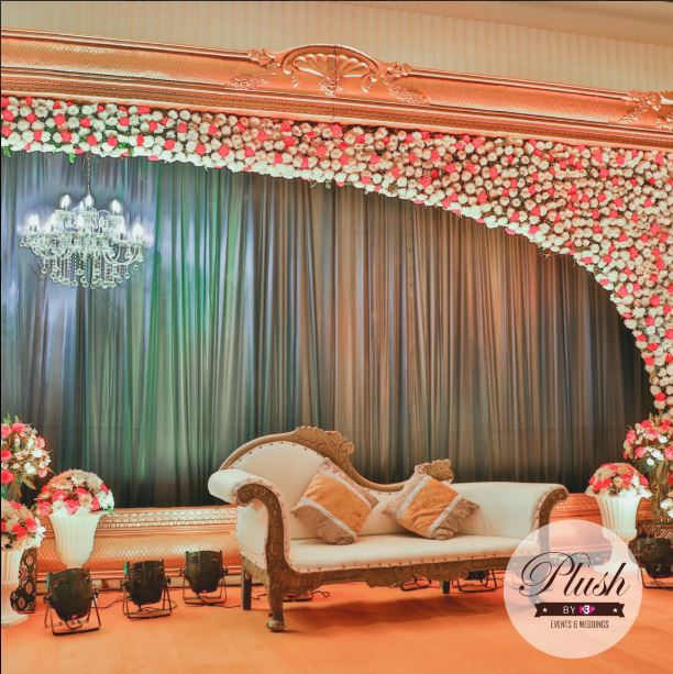 White & Pink Floral Wedding Stage Decor