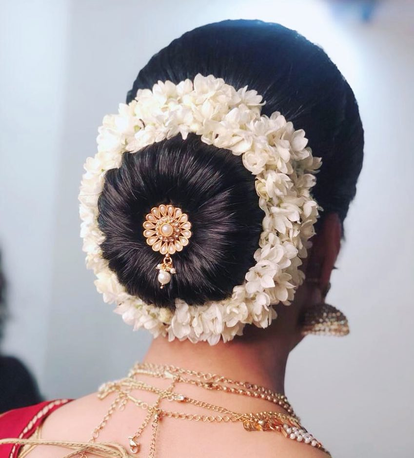 Donut Bun Hairstyle with Embellishments & Gajra for Wedding Reception