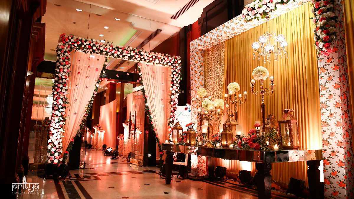 Floral Decor at Wedding Lawn Entrance
