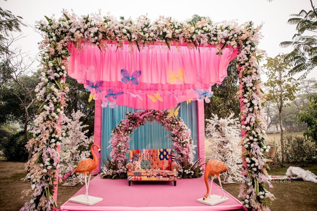 beautiful pink outdoor wedding decor
