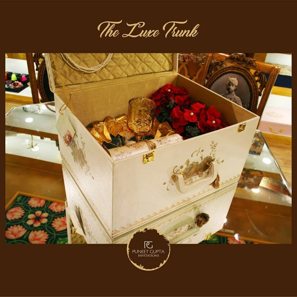 Luxury Trunk with Wedding Invitation Scroll