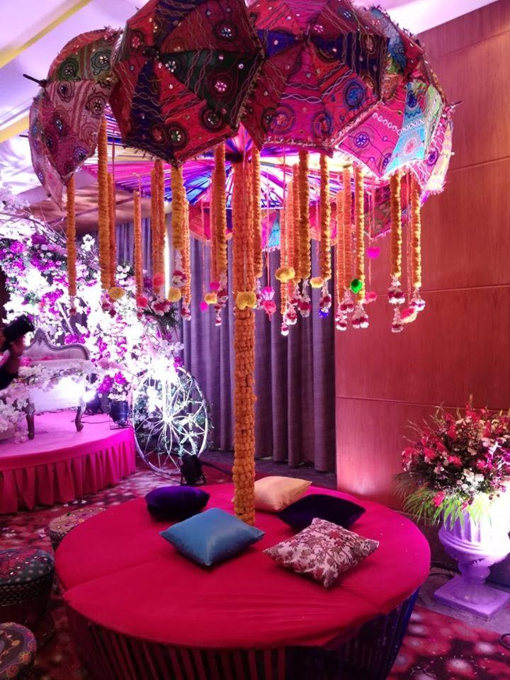 wedding decoration idea with umbrella