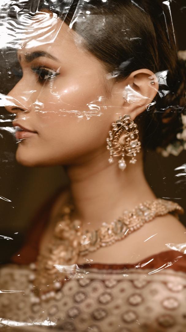 side shot of the bride