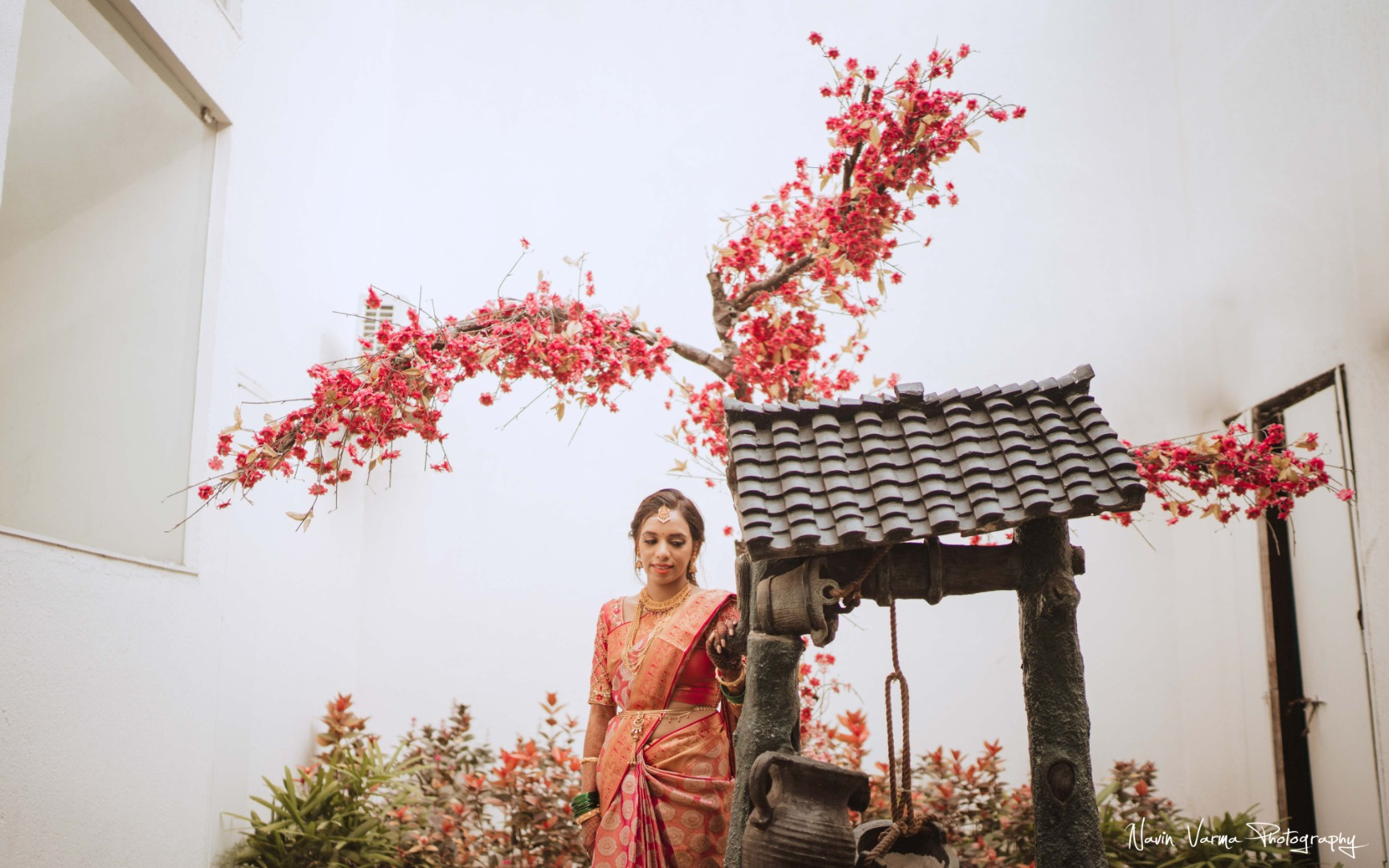 beautiful bride in silk saree