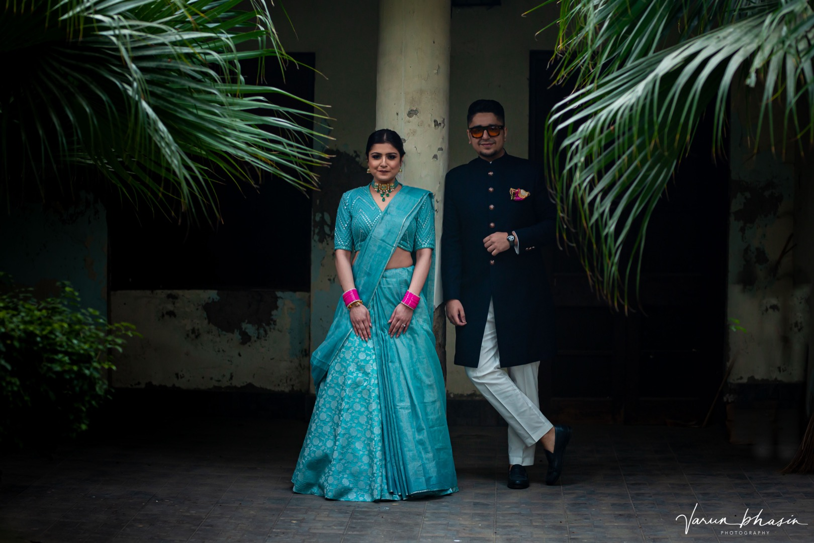 couple in contrasting outfits