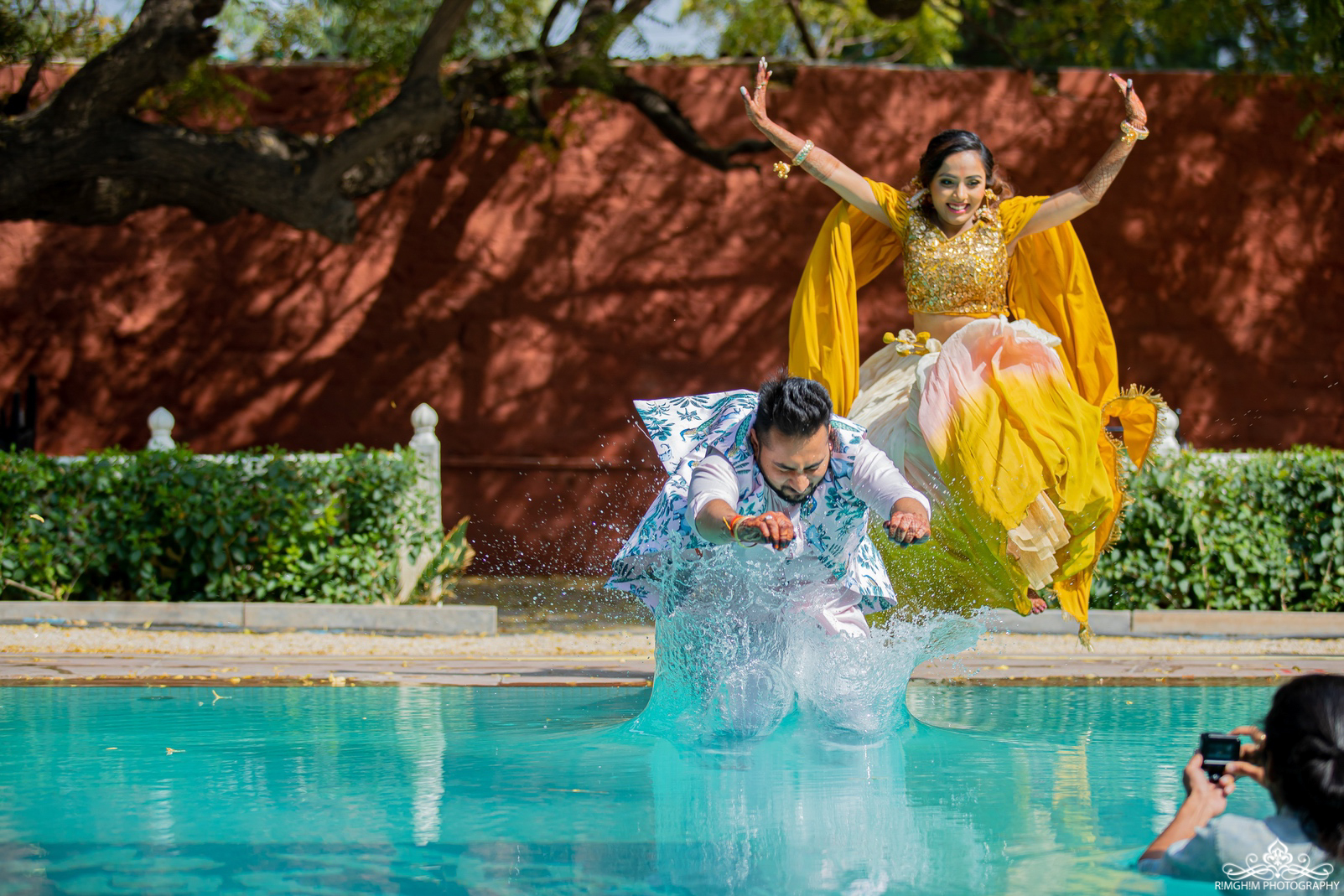 Fun Indian Wedding Couple Have Fun by the Poolside