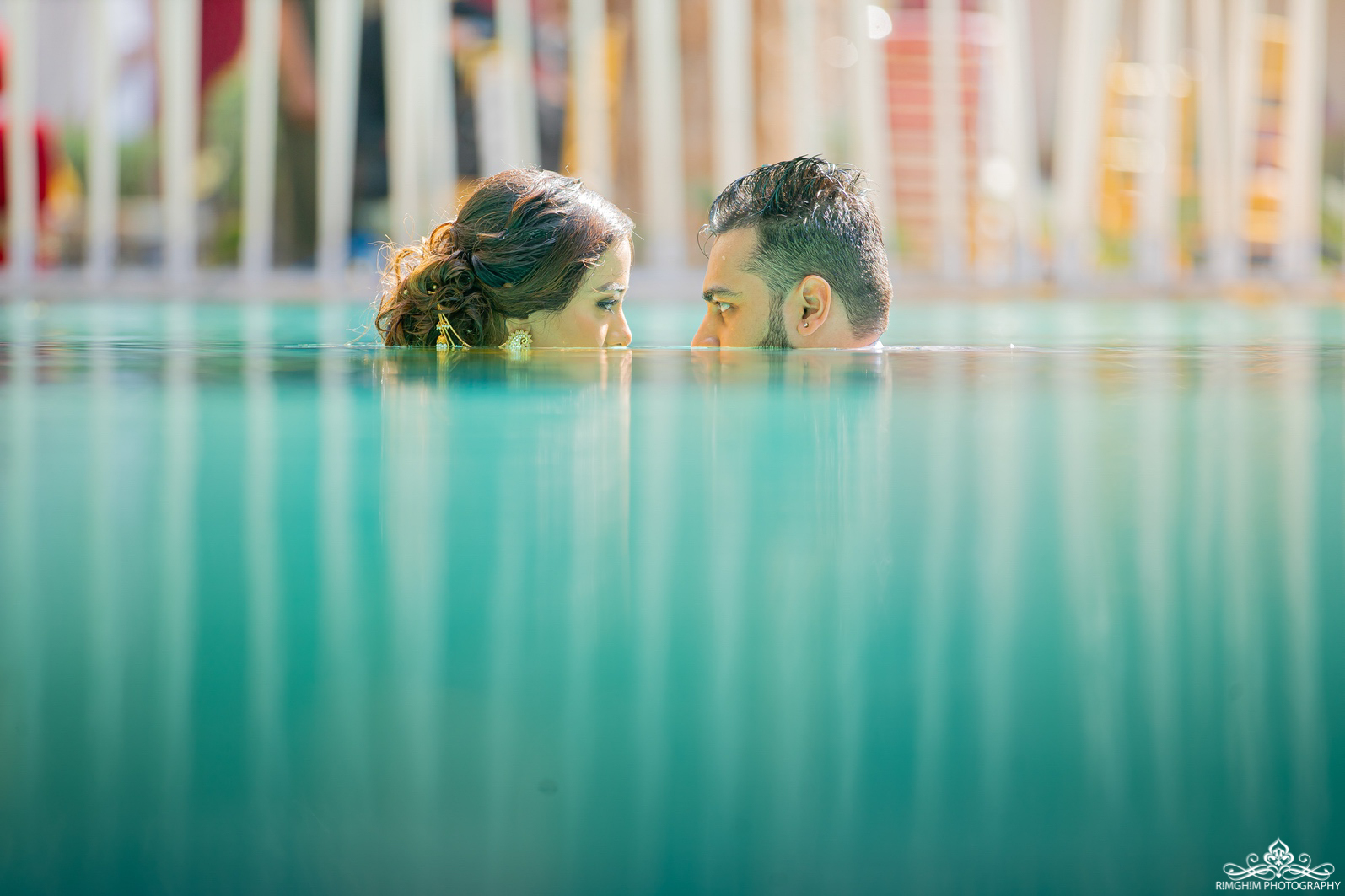 Beautiful Images of Bride and Groom in Pool