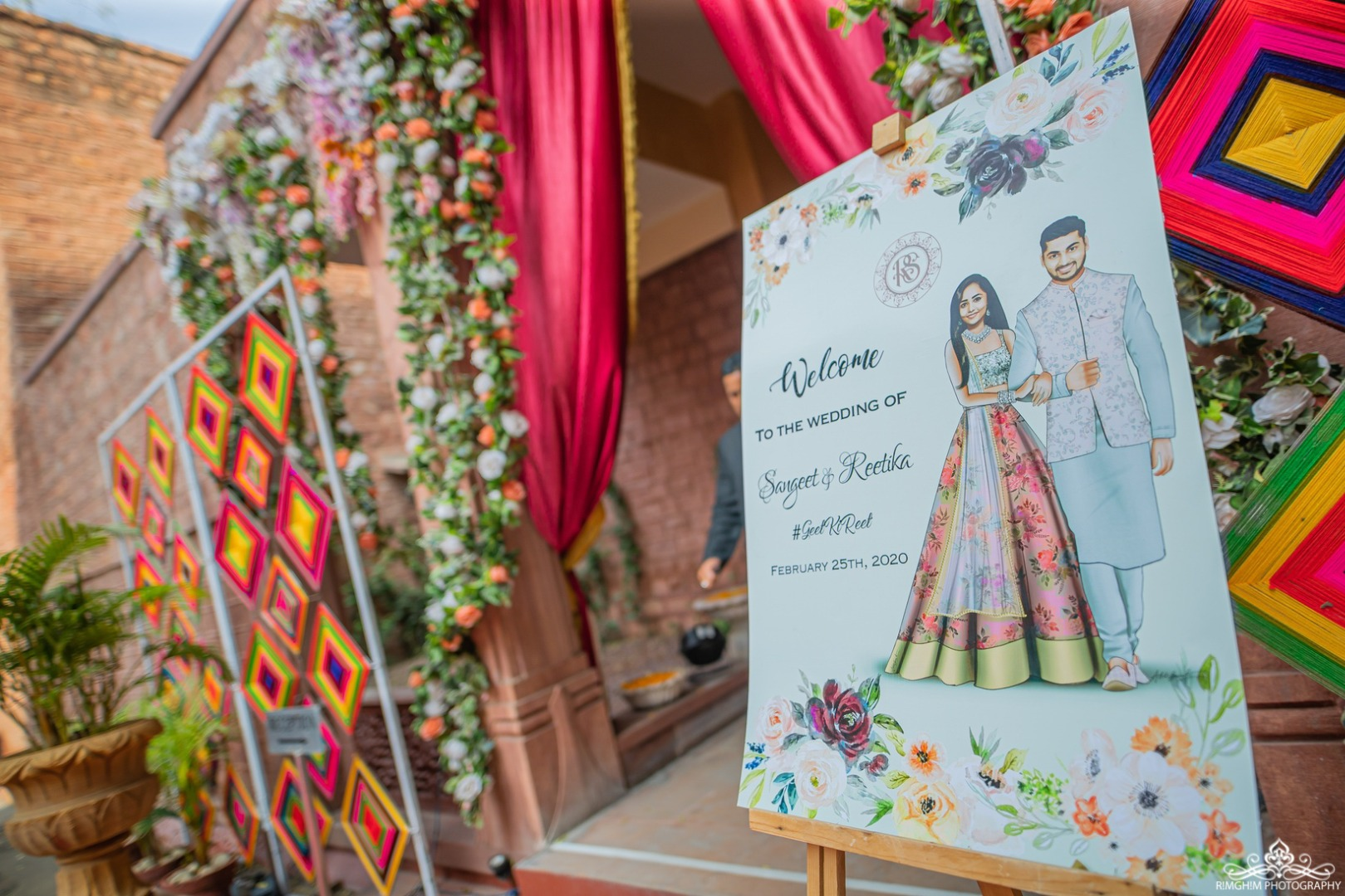 Cute Sangeet Ceremony Welcome Signboard