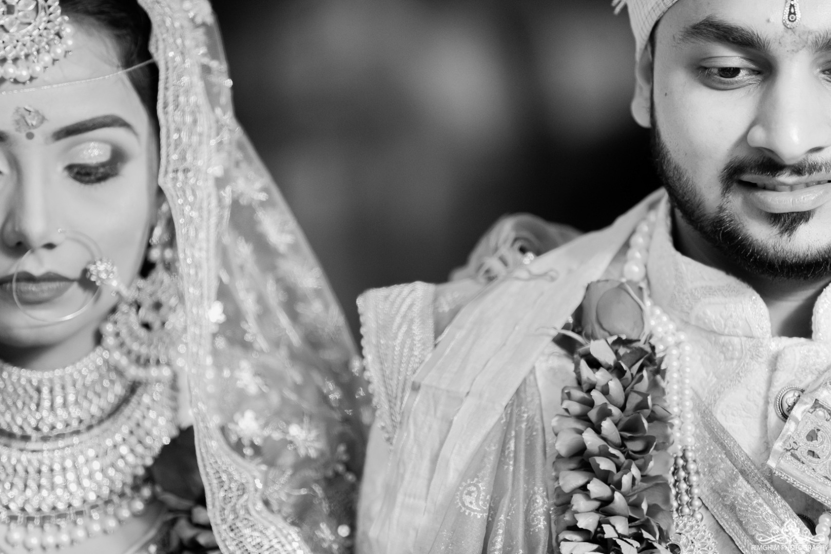 Black and White Indian Wedding couple portraits
