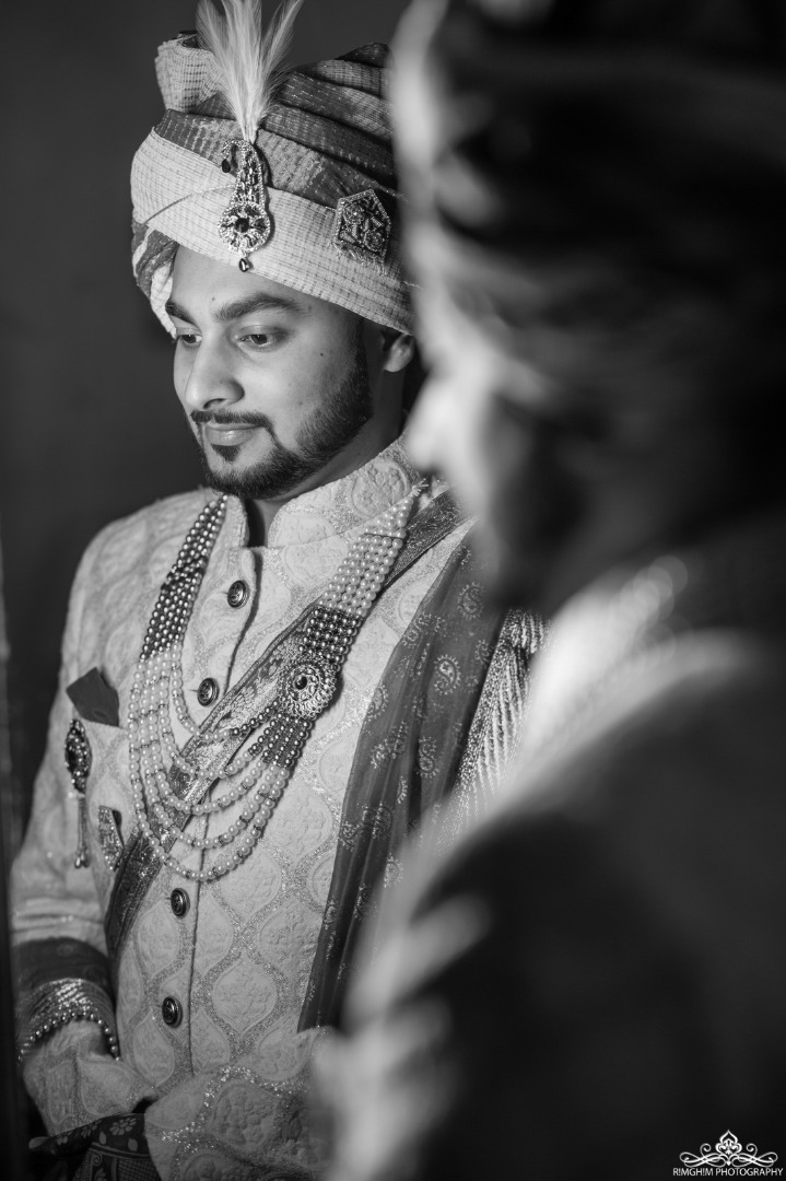 Black and White Indian groom pictures