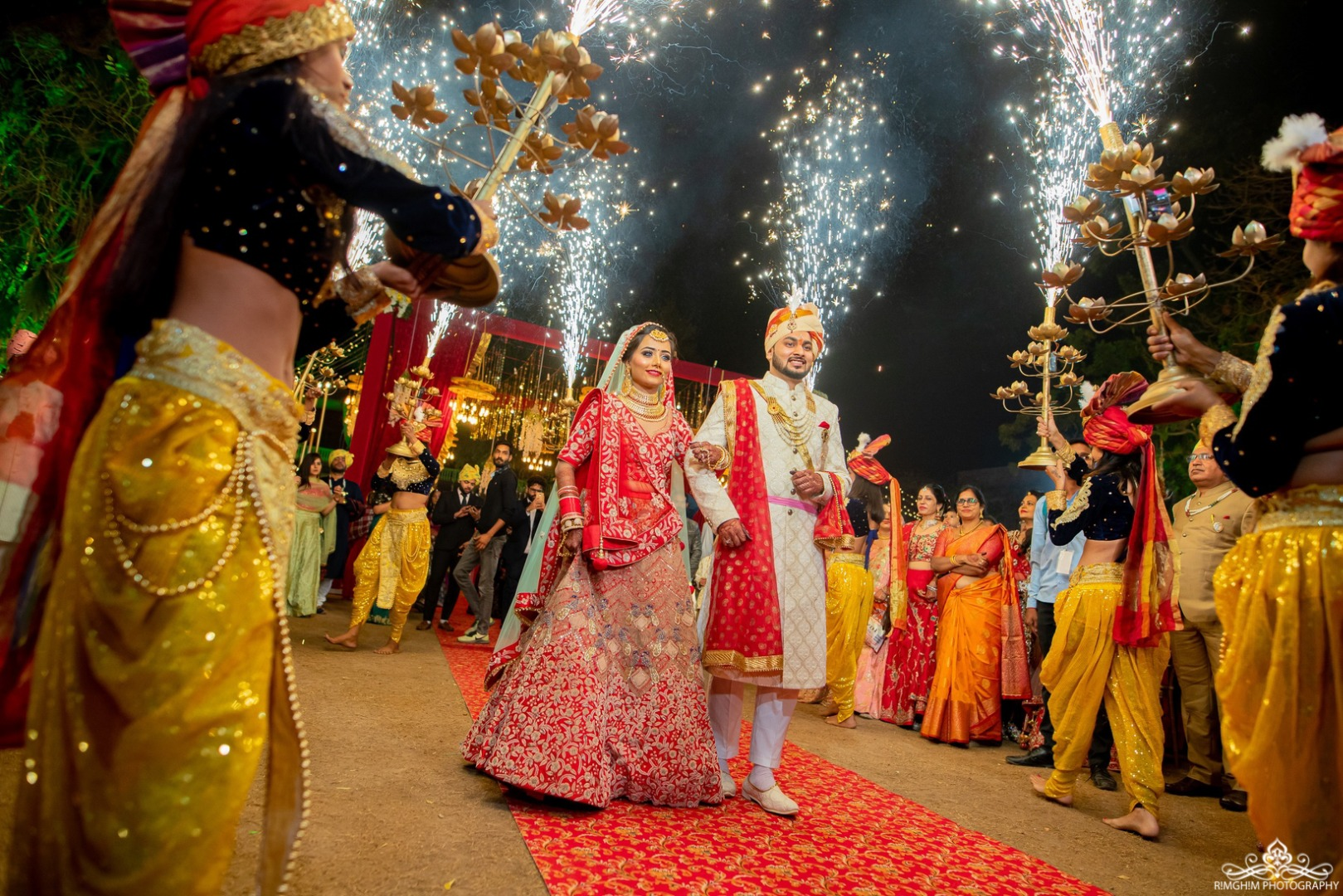 Bride and Groom entry with Fireworks