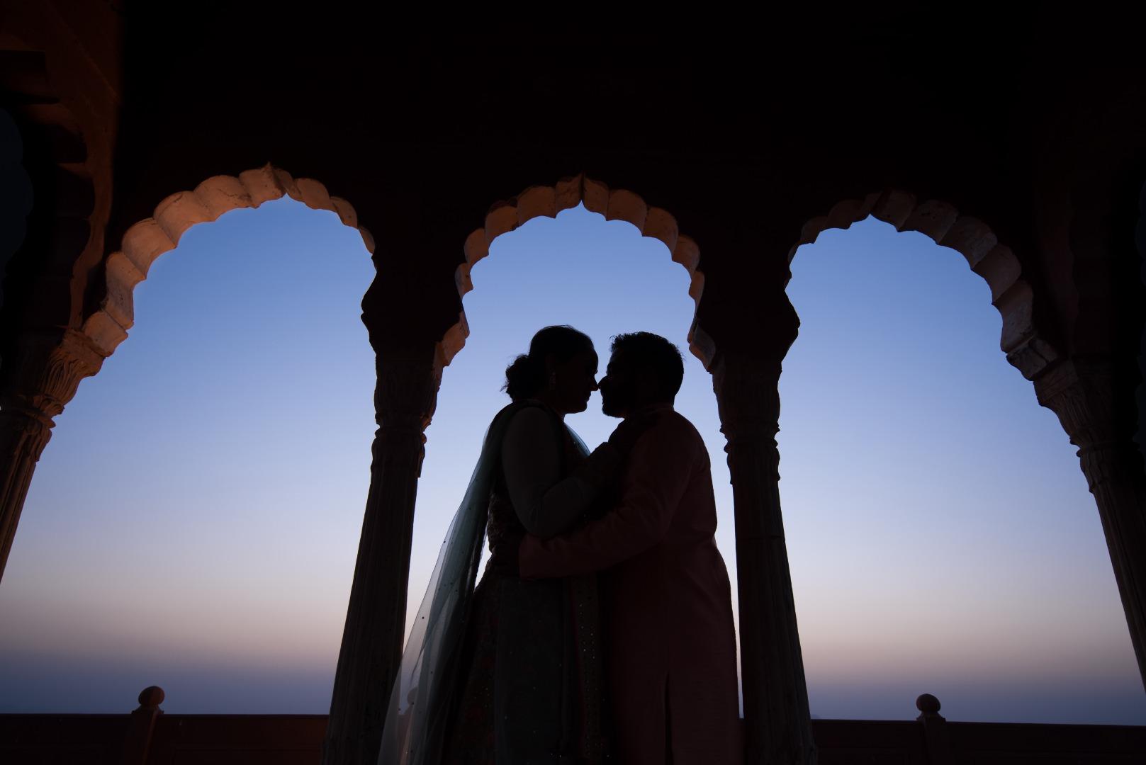 Indian Wedding Couple Silhouette at Neemrana