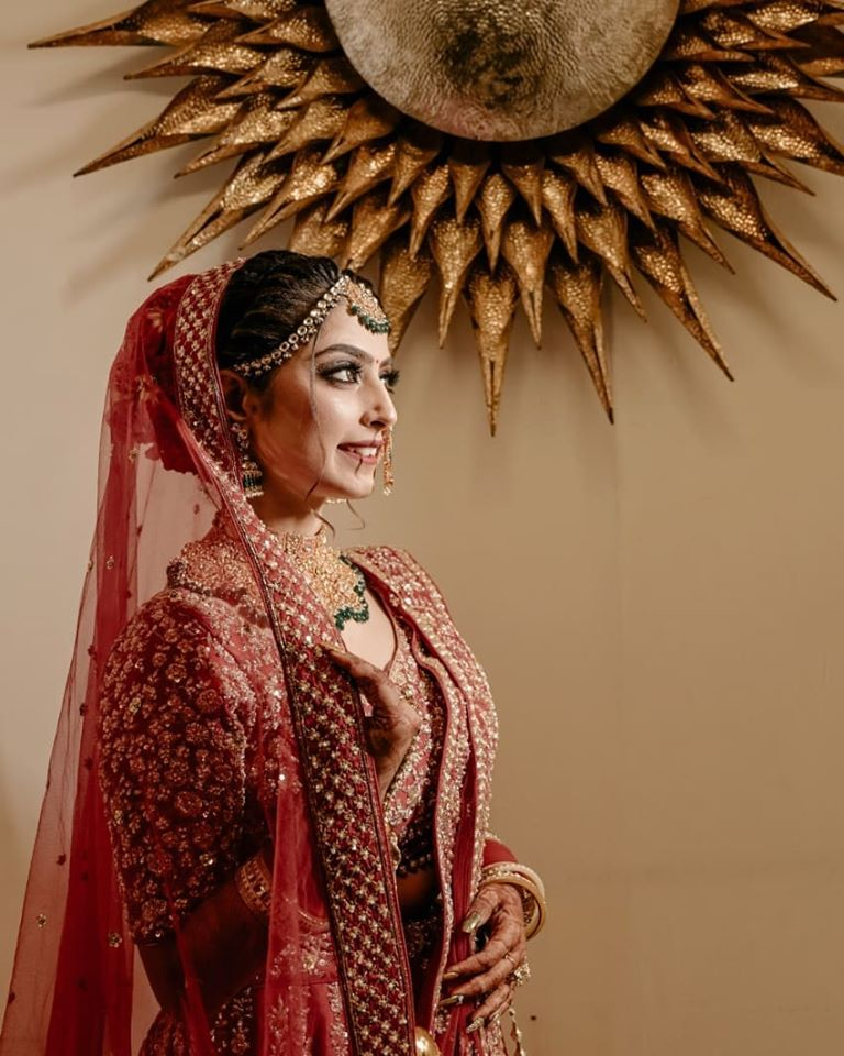 Gold and Green Jewelry with Red & Golden Lehenga